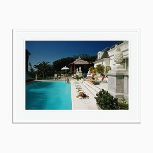 Poolside Chez Holder Oversize C Print Framed in White by Slim Aarons