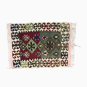 Small Vintage Turkish Red, Green, Beige, and Black Wool Kilim Rug, 1950s