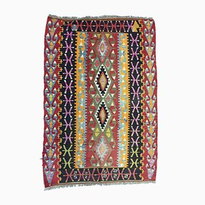 Small Vintage Turkish Red, Black, Pink, Blue, and Green Wool Kilim Rug, 1950s