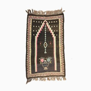 Small Vintage Turkish Black, Beige, and Pink Wool Kilim Prayer Rug, 1950s