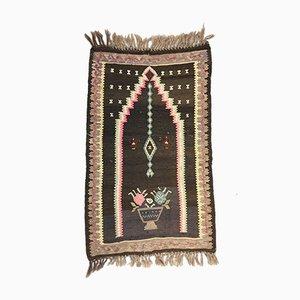 Small Vintage Turkish Black, Beige, and Pink Wool Kilim Prayer Rug, 1950s