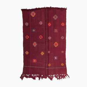Small Vintage Turkish Red, Maroon, and Purple Wool Tribal Kilim Rug, 1950s