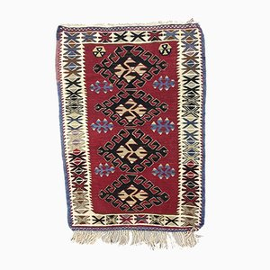 Small Vintage Turkish Black, Red, and Blue Wool Kilim Rug, 1950s