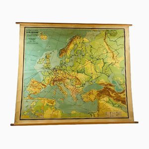 Vintage Dutch Map of Europe School Poster by J. B. Wolters Groningen, 1950s