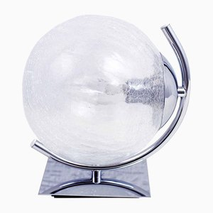 Vintage Cracked Glass and Chrome-Plated Sconce