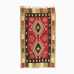 Vintage Turkish Black, Red, and Beige Wool Tribal Kilim Rug, 1950s