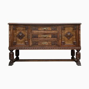 Large 19th Century Catalan Spanish Buffet with Drawers and Mirror Crest