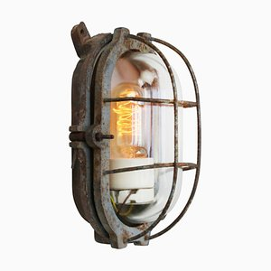 Vintage Industrial Cast Iron and Clear Glass Sconce