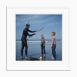 Spear Fishing in San Diego Oversize C Print Framed in White by Slim Aarons