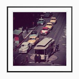 Schwarzer Tram Turntable Oversize C Print von Slim Aarons