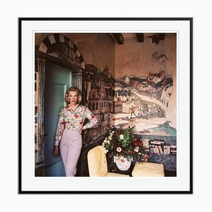 Harriet at Mougins Oversize C Print Framed in Black by Slim Aarons