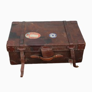 Large Leather Storage Trunk with Cunard White Star Label, 1910s