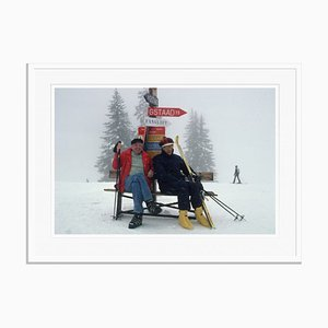 Skiing Holiday Oversize C Print Framed in White by Slim Aarons