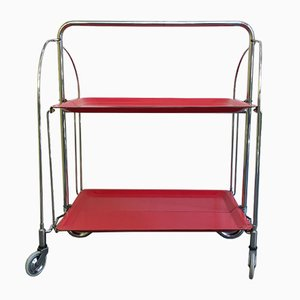 Mid-Century German Red and Steel Folding Trolley from Gerlinol, 1960s