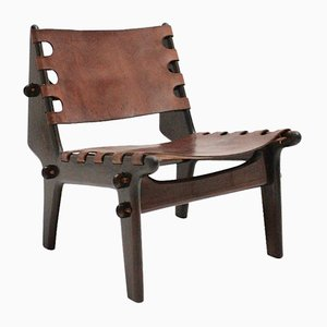 Leather and Stained Beechwood Lounge Chair by Angel Pazmino, 1960s