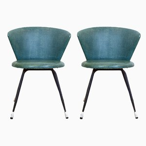Spanish Iron and Green Skai Club Chairs, 1960s, Set of 2