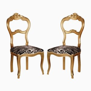 19th Century Italian Giltwood Walnut Side Chairs, Set of 2