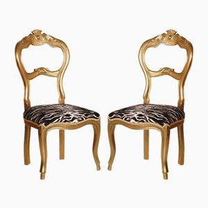 19th Century Italian Giltwood Walnut Side Chairs, Set of 2