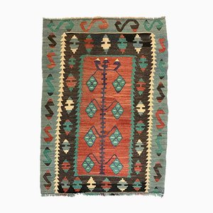Small Vintage Turkish Indigo, Red, Gold, Blue, and Black Wool Kilim Rug, 1950s