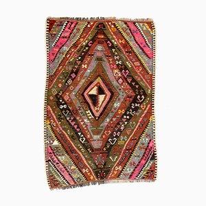 Small Vintage Turkish Red, Black, Pink, and Blue Wool Kilim Rug, 1950s