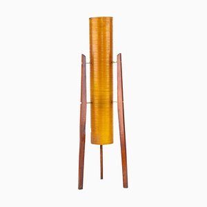 Space Age Czechoslovakian Teak and Fiberglass Rocket Table Lamp from Novoplast Sared, 1960s