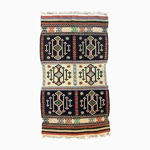 Kleiner türkischer Vintage Kelim-Teppich in Rot, Beige und Schwarz aus Wolle, 1950er