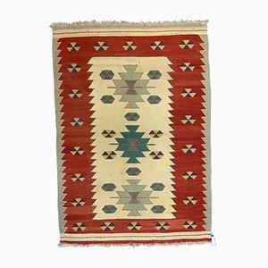 Kleiner türkischer Vintage Kelim-Teppich in Rot, Grün, Beige und Gelb, 1950er