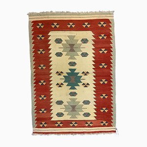 Small Vintage Turkish Red, Green, Beige, and Yellow Wool Kilim Rug, 1950s