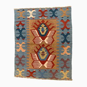 Small Vintage Turkish Red, Blue, and Brown Wool Kilim Rug, 1950s