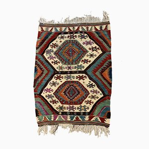 Small Vintage Turkish Red, Blue, Black, and Green Wool Kilim Rug, 1950s