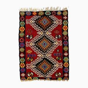 Petit Tapis Kilim Vintage en Laine Rouge, Noire, Rose, Bleue et Verte, Turquie, 1950s