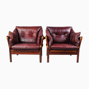 Leather Ilona Armchairs by Arne Norell for Aneby Møbler, 1960s, Set of 2