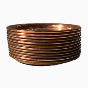 Vintage Danish Copper Drink and Coffee Coasters Set, 1960s