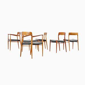 Chaises N°75 et N°56 Moderne en Teck par Niels Otto Møller, Danemark 1959, Set de 6