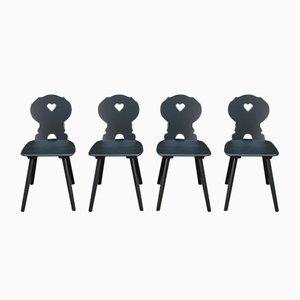 Vintage Black Patinated Beech Dining Chairs, 1950s, Set of 8
