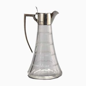 Silver Mounted Cut Crystal Claret Jug by William Hutton & Sons Birmingham, 1907