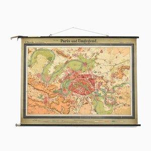 Antike Paris Karte von Westermann, 1920er