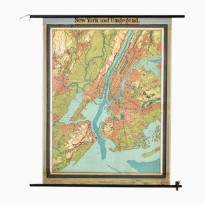 Antique New York Map from Westermann, 1920s