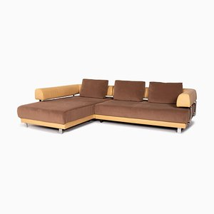 Beige Brown Leather & Fabric Brand Face Electric Function Corner Sofa from Ewald Schillig