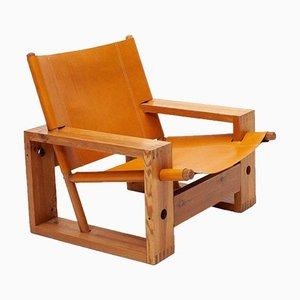 Mid-Century Dutch Pine & Leather Lounge Chair by Ate Van Apeldoorn for Houtwerk Hattem, 1970s