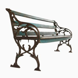Wooden Bench with Blue Patina and Carved Cast Iron, 1940s