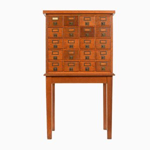 Wooden Haberdashery Cabinet with 20 Drawers, 1940s