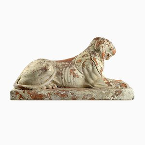 Terracotta Lion Statues, Set of 2