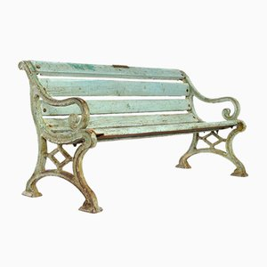 Weathered Wood Bench with Cast Iron Legs, 1940s