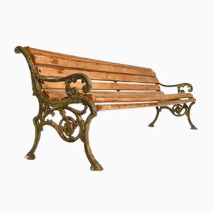 Bench in Wood and Carved Cast Iron, 1940s