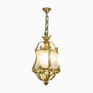 Antique Louis XV Lantern in Gilt Bronze and Glass, 1900s