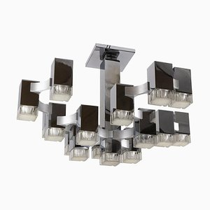 Cubic 17-Light Chandelier Attributed to Gaetano Sciolari, 1970s