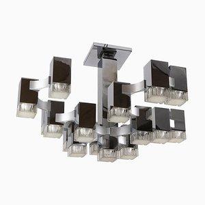 Lámpara de araña cúbica de 17 luces atribuida a Gaetano Sciolari, años 70