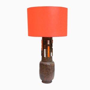 Lámpara de mesa Studio de cerámica naranja y blanca de Aldo Londi, años 50
