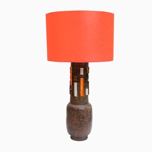 Terra Orange and White Studio Ceramic Table Lamp by Aldo Londi, 1950s
